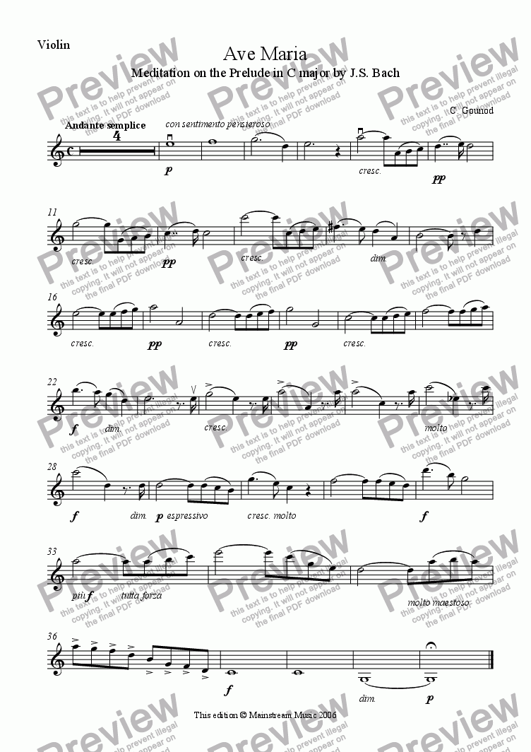 page one of the Violin part from Ave Maria
