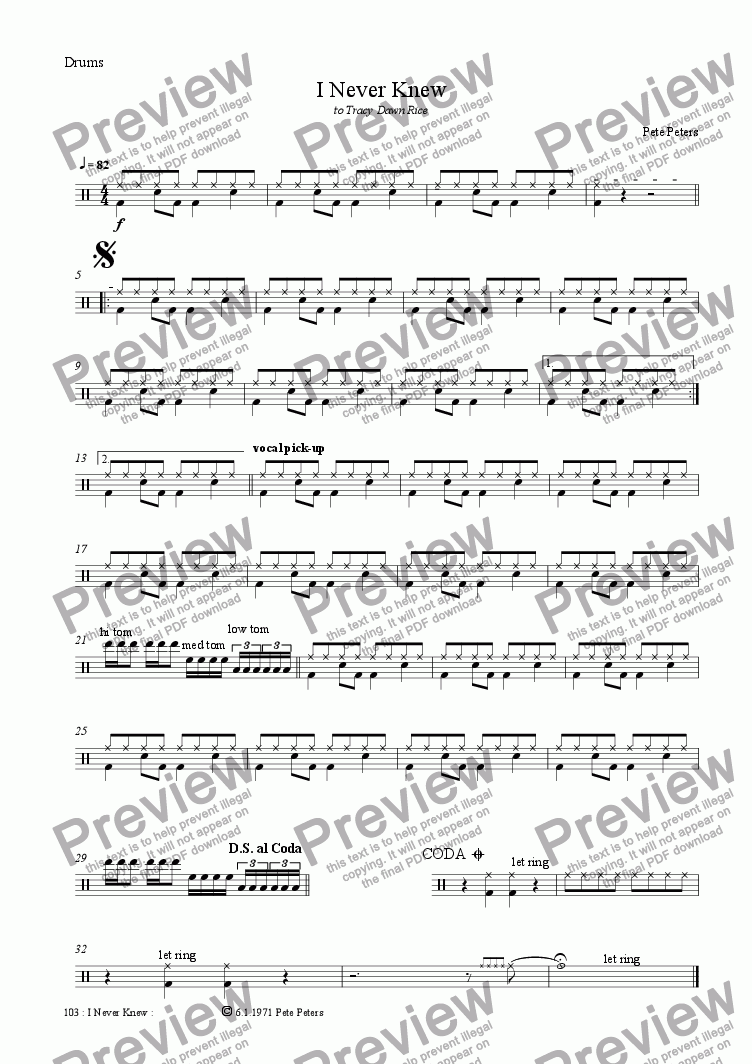 page one of the Drums part from I Never Knew [vocal ballad]