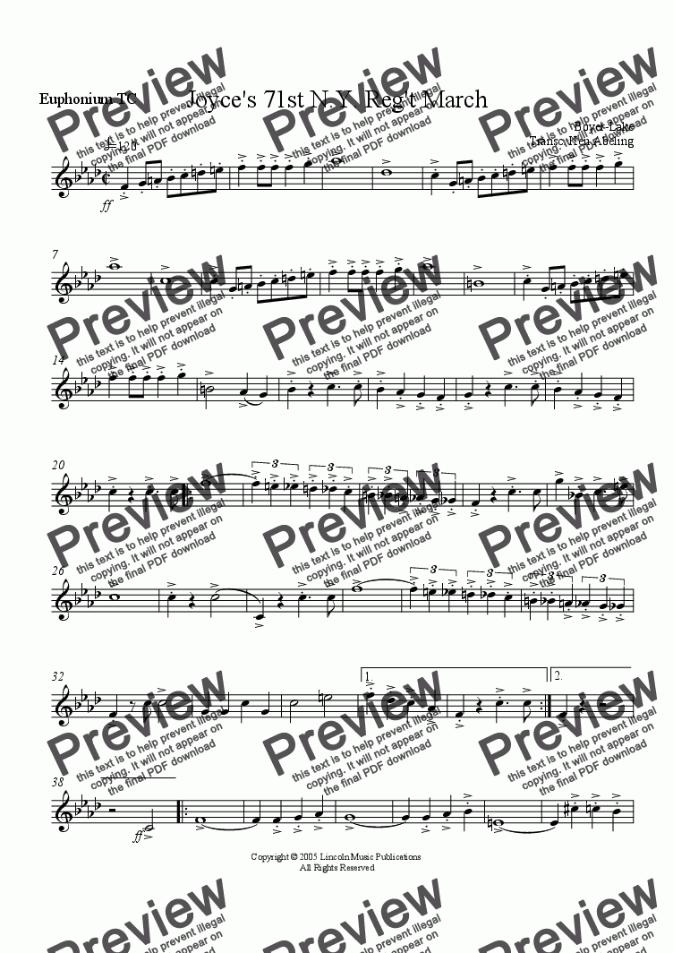 page one of the Joyces TC Euphonium for Trombone part from March - Joyce's 71st Regiment (Brass Quintet)