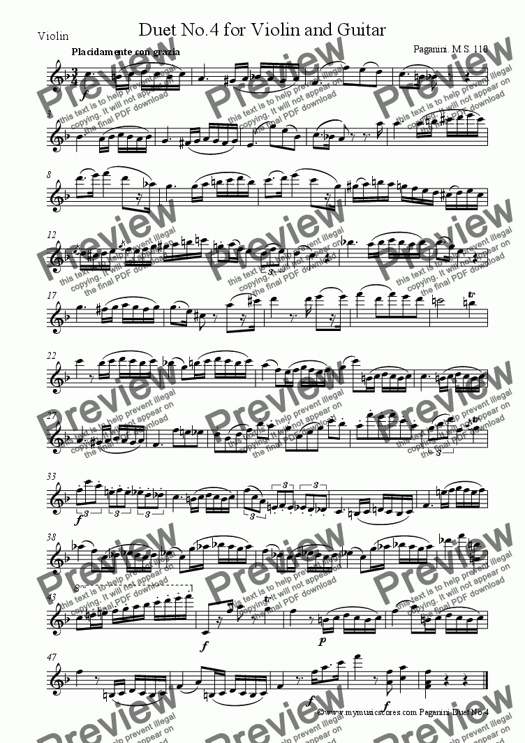 page one of the Violin part from Paganini Duet for Violin and Guitar MS110 No.4