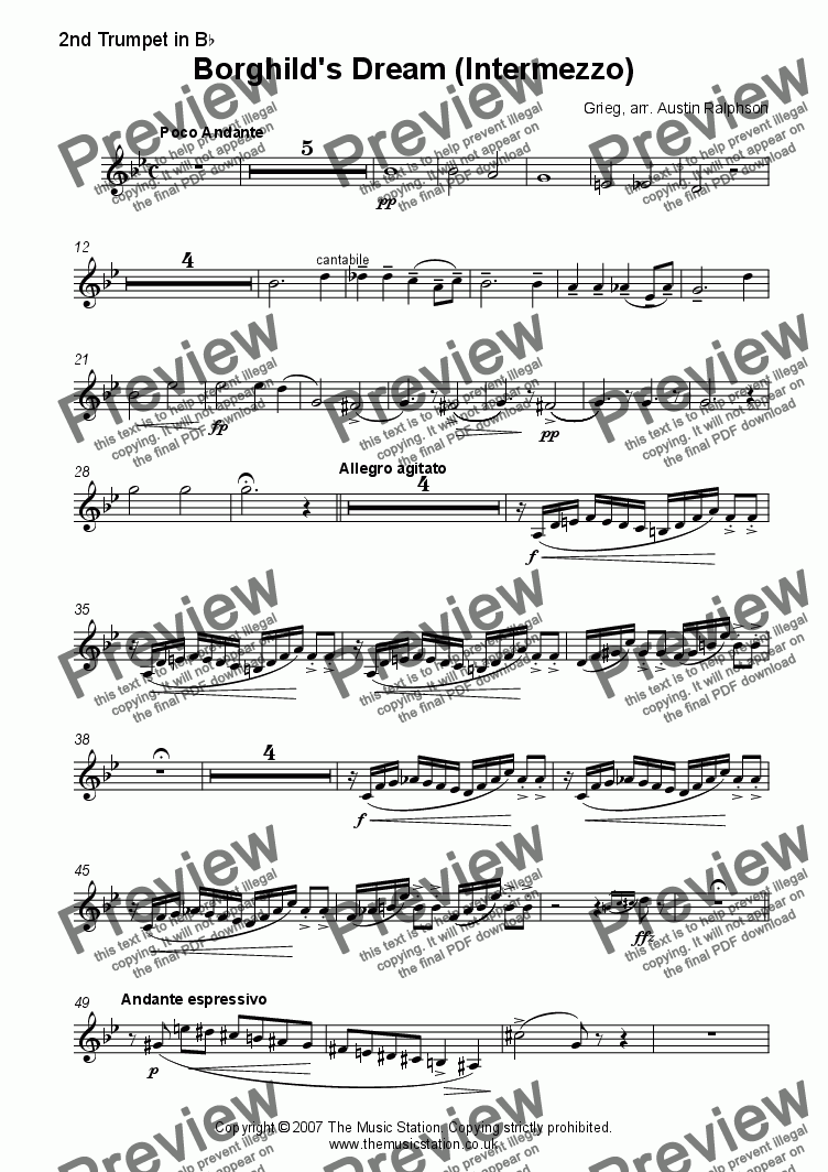 page one of the Trumpet 2 part from Borghild's Dream - brass quintet