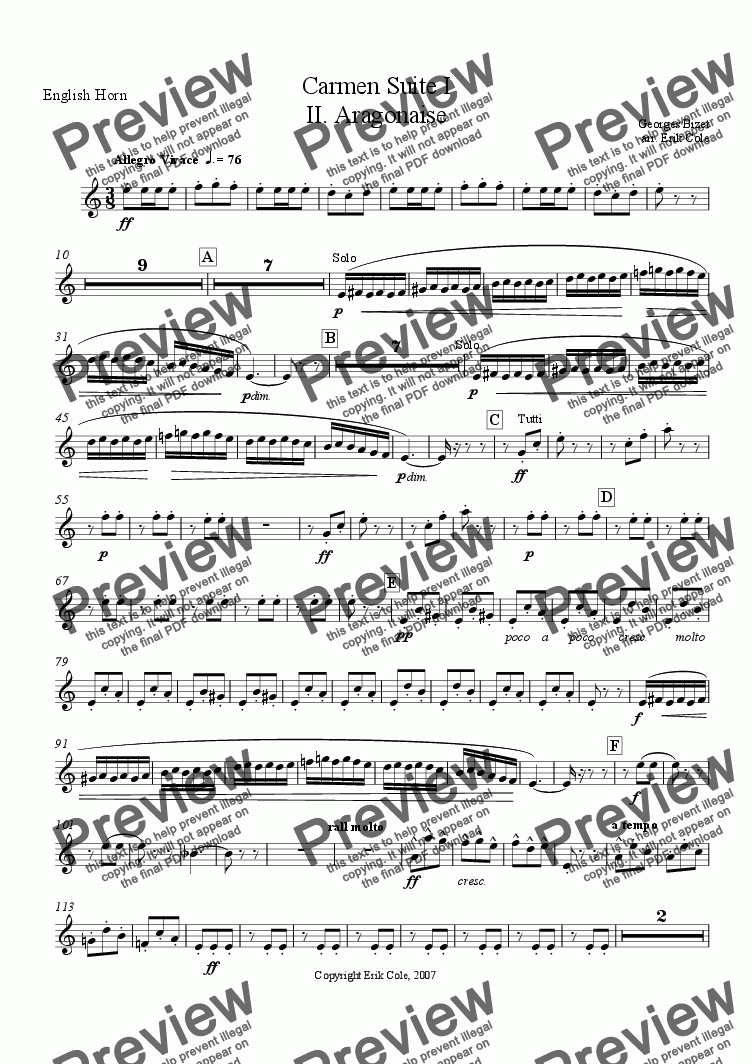 page one of the English Horn part from Carmen Suite 2. Aragonaise