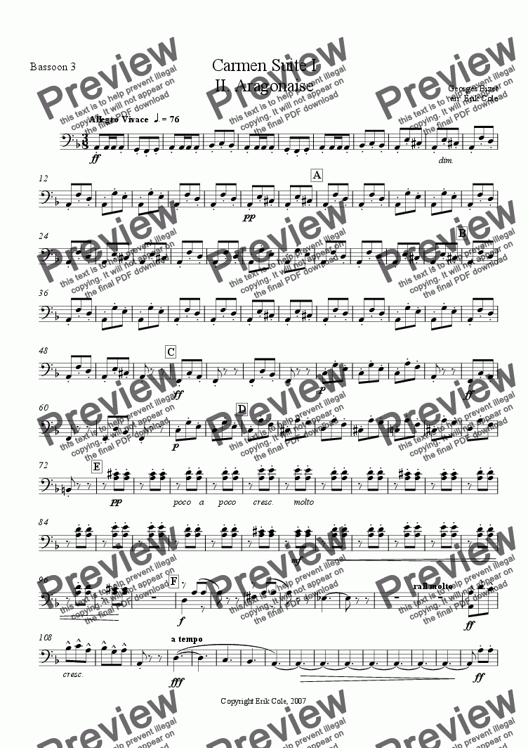 page one of the Bassoon 3 part from Carmen Suite 2. Aragonaise