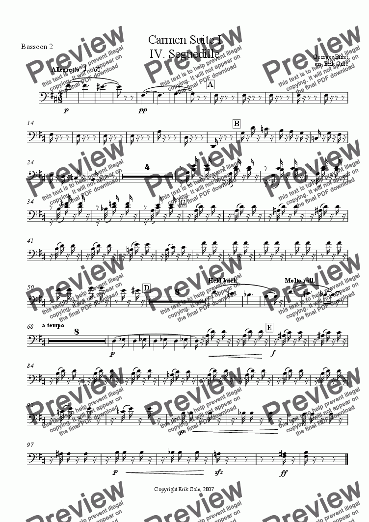 page one of the Bassoon 2 part from Carmen Suite 4. Seguedille