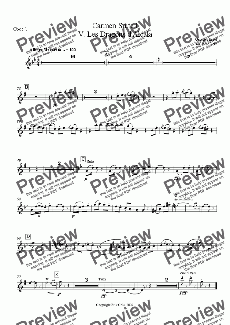 page one of the Oboe 1 part from Carmen Suite 5. Les Dragons d'Alcala