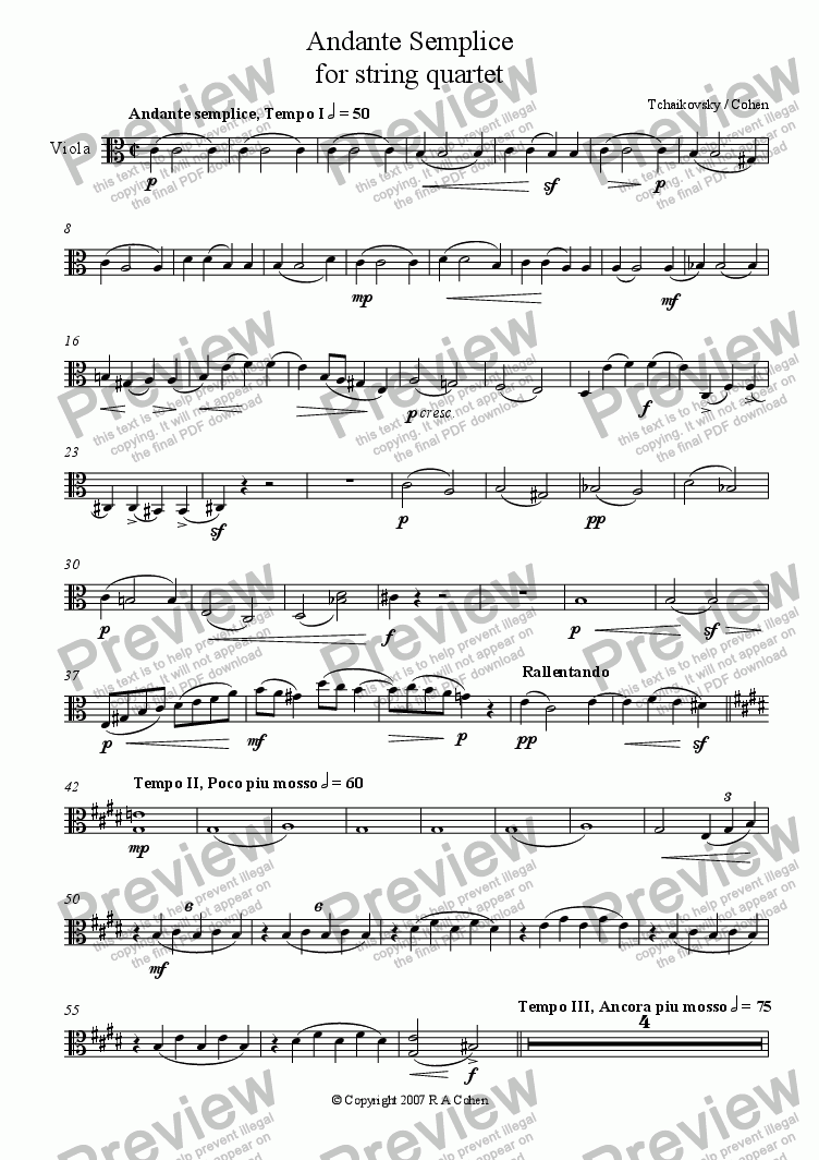 page one of the Viola part from Tchaikovsky/Cohen - ANDANTE SEMPLICE - for string quartet