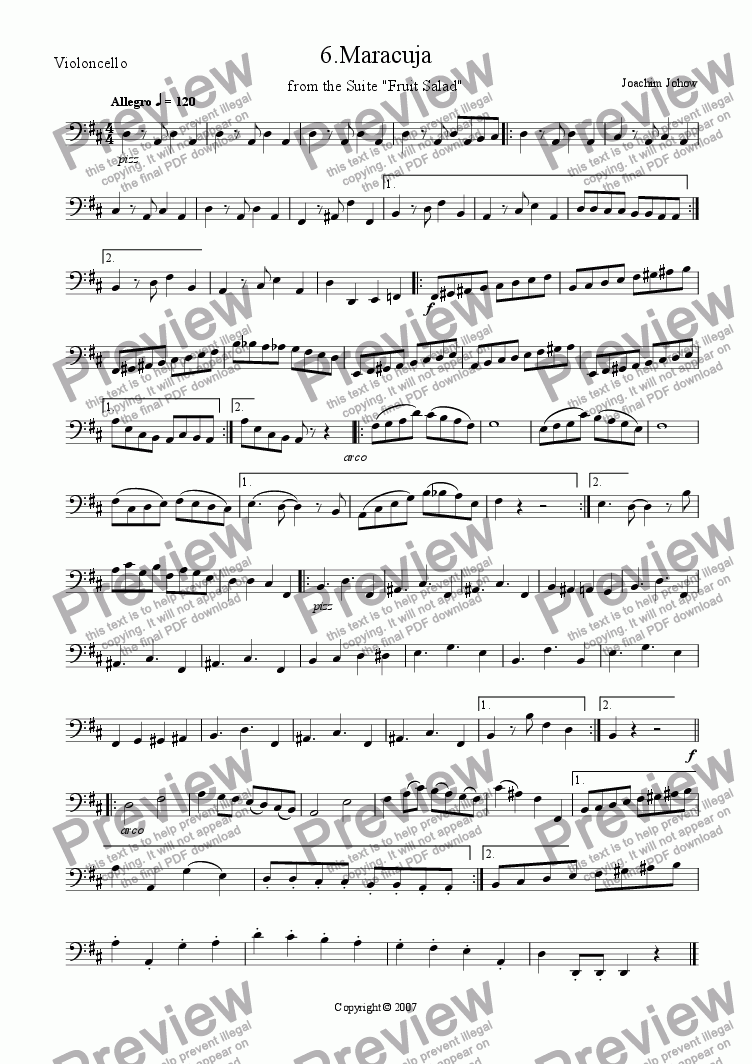 page one of the Vlc/B part from Fruit Salad 6 Maracuja (Suite for Flute, Strings and Piano)