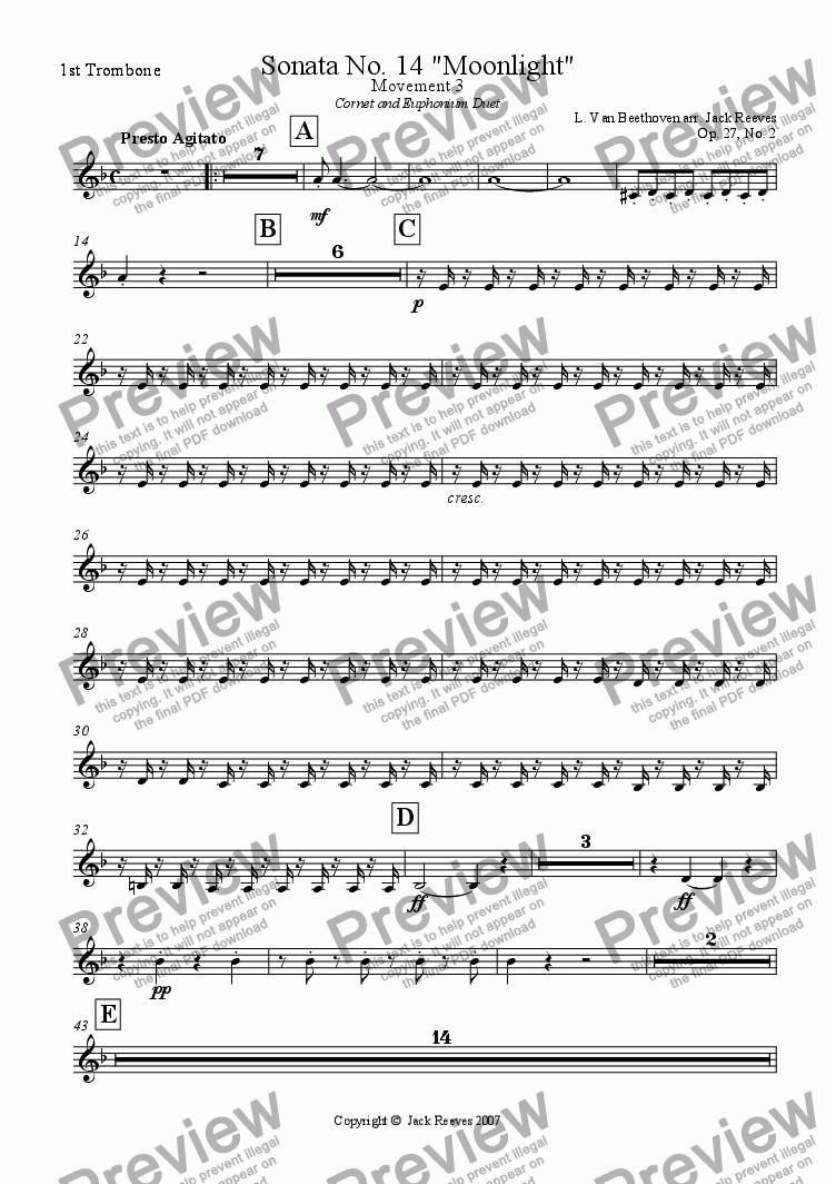 page one of the 1st Trombone part from Moonlight Sonata - 3rd Movement (C Minor) - Brass Band with Cornet and Euphonium Duet