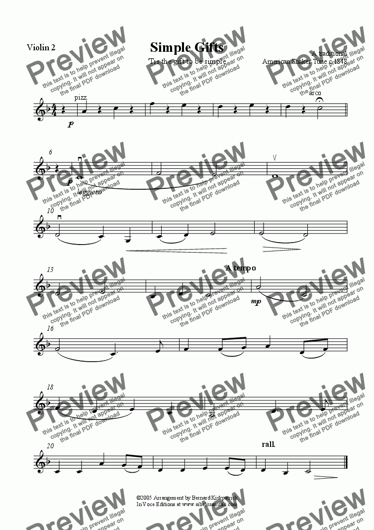 page one of the Violin 2 part from Simple Gifts - Shaker Melody - Unity Wedding Candle Download String Quartet Sheet Music