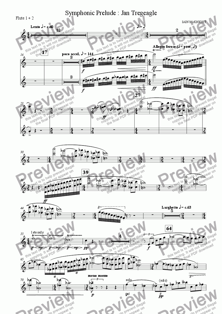 page one of the Flute part from Symphonic Prelude: Jan Tregeagle