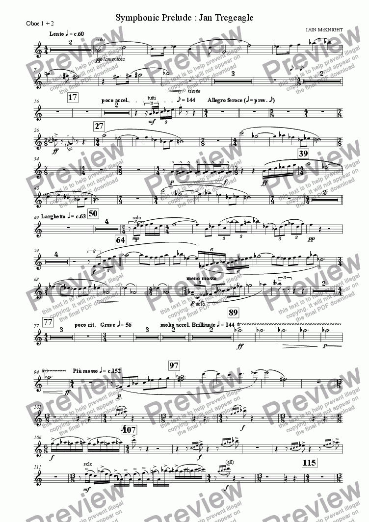 page one of the Oboe part from Symphonic Prelude: Jan Tregeagle