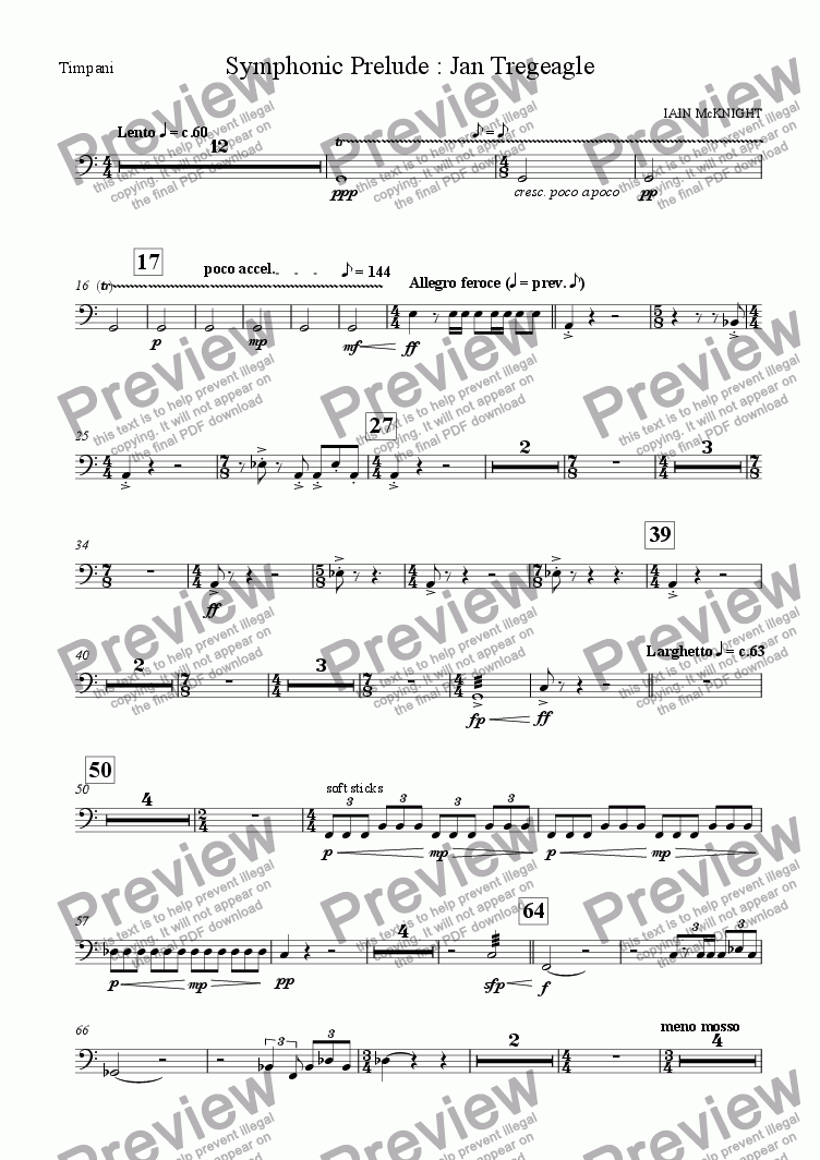 page one of the Timpani part from Symphonic Prelude: Jan Tregeagle