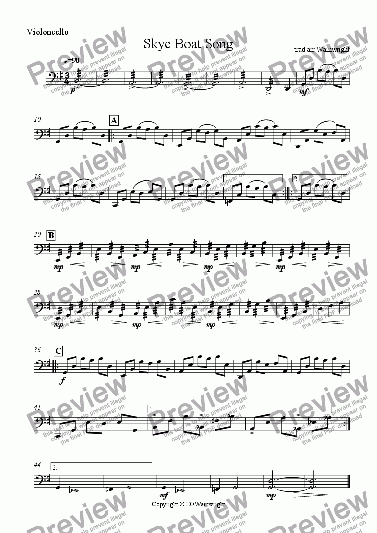 page one of the Violincello part from Skye Boat Song