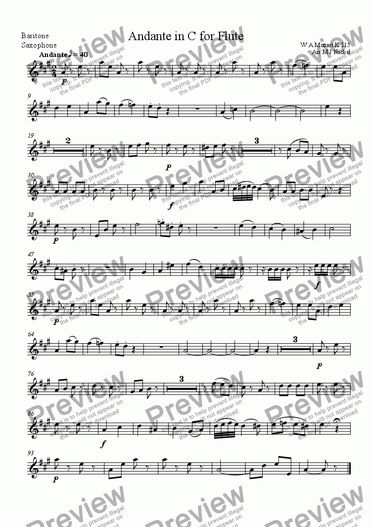 page one of the Bari Sax (Eb) part from Andante in C