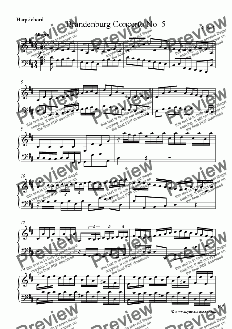 page one of the Harpsichord part from Brandenburg Concerto No.5