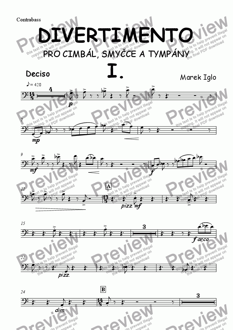 page one of the Contrabass part from Divertimento for dulcimer, strings and timpani