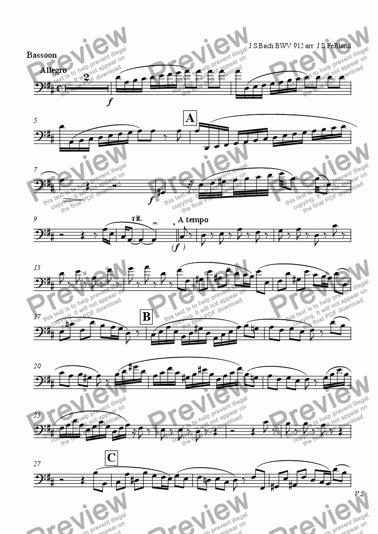 page one of the Bassoon part from Toccata in D major (vers. 2)
