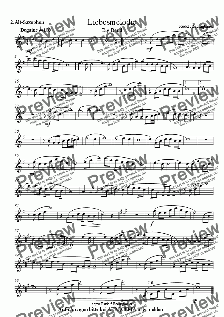 page one of the 2. Altsaxophon part from Liebesmelodie  Big Band