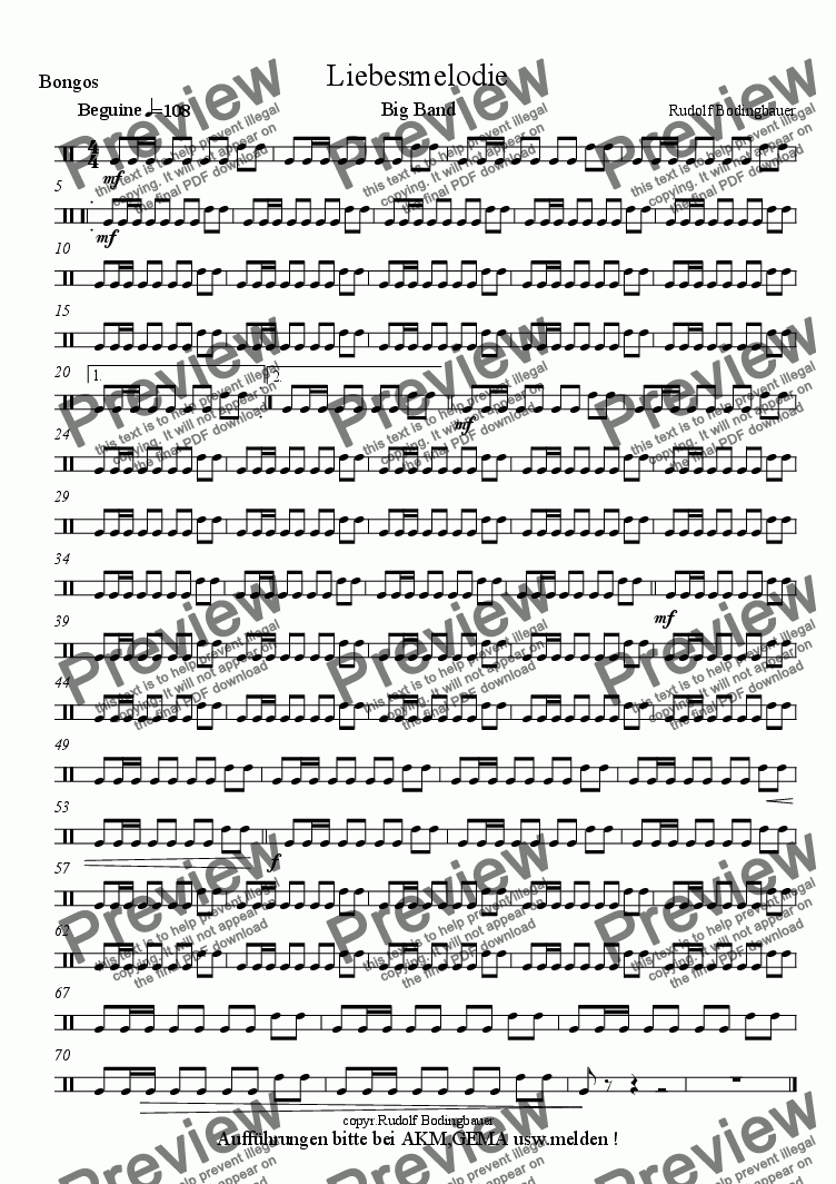 page one of the Bongos part from Liebesmelodie  Big Band