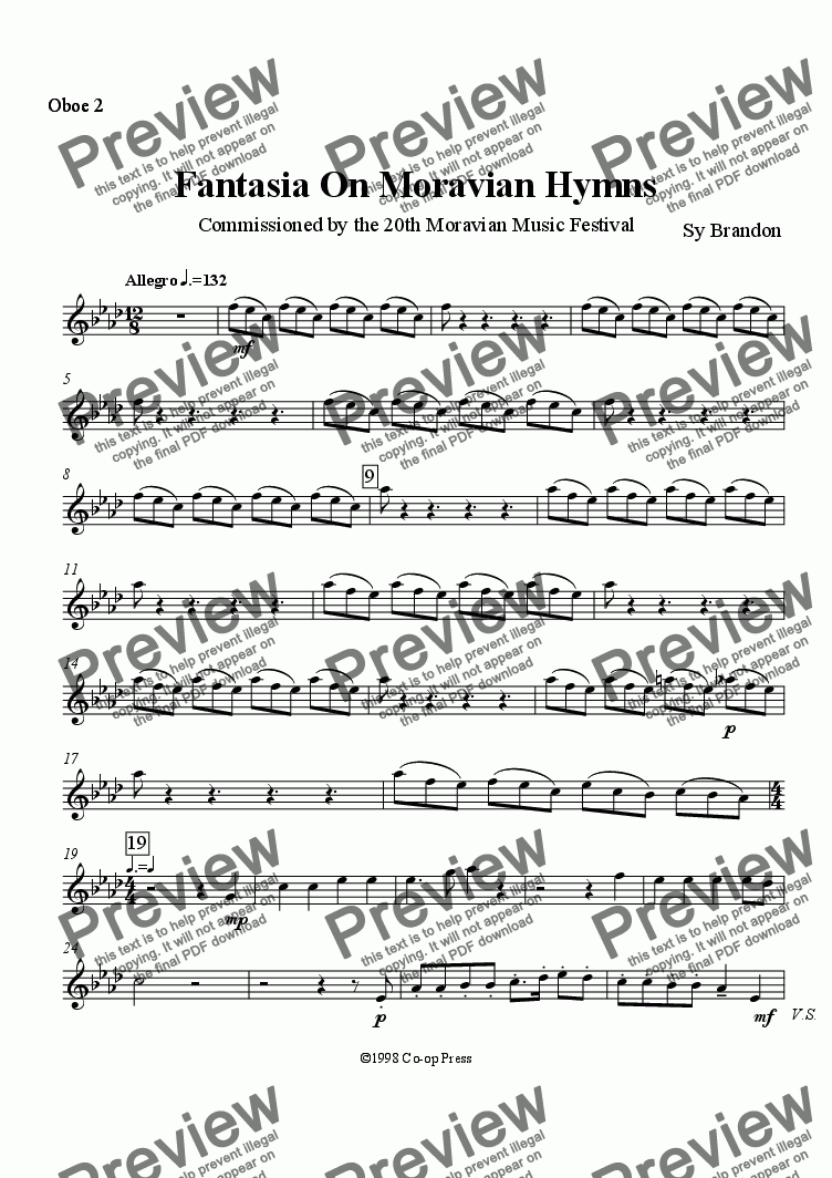 page one of the Oboe 2 part from Fantasia on Moravian Hymns