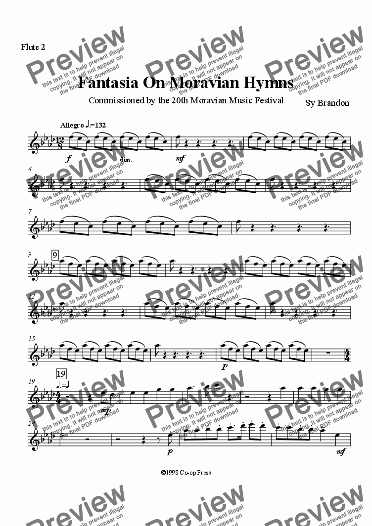 page one of the Flute 2 part from Fantasia on Moravian Hymns