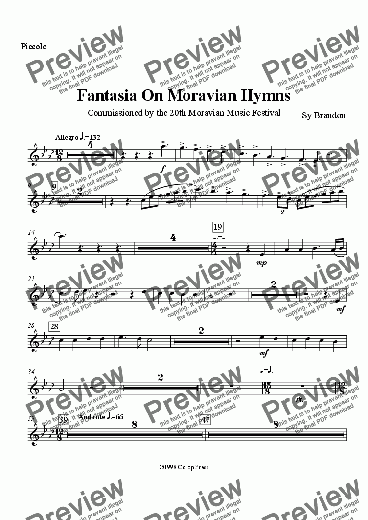 page one of the Piccolo part from Fantasia on Moravian Hymns