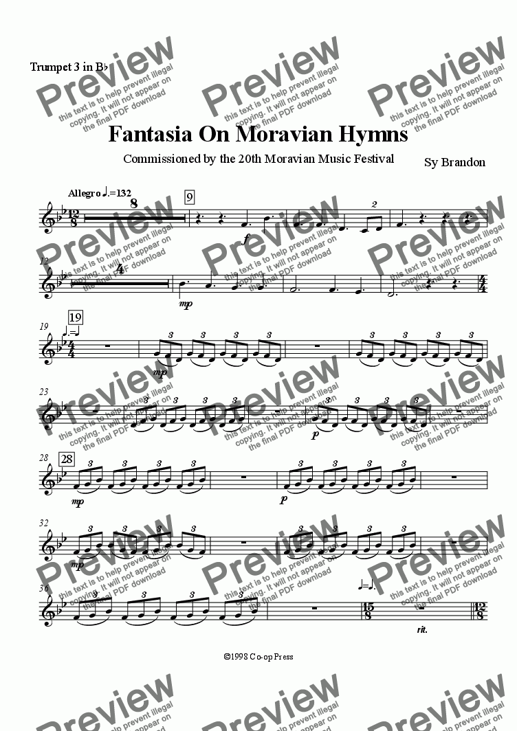 page one of the Bb Trumpet 3 part from Fantasia on Moravian Hymns