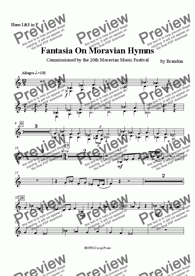 page one of the Horn 1 & 3 in F part from Fantasia on Moravian Hymns