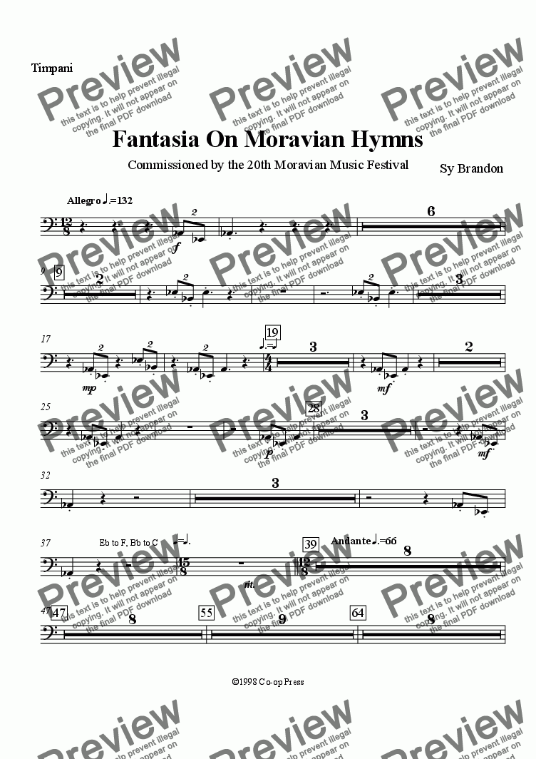 page one of the Timpani part from Fantasia on Moravian Hymns