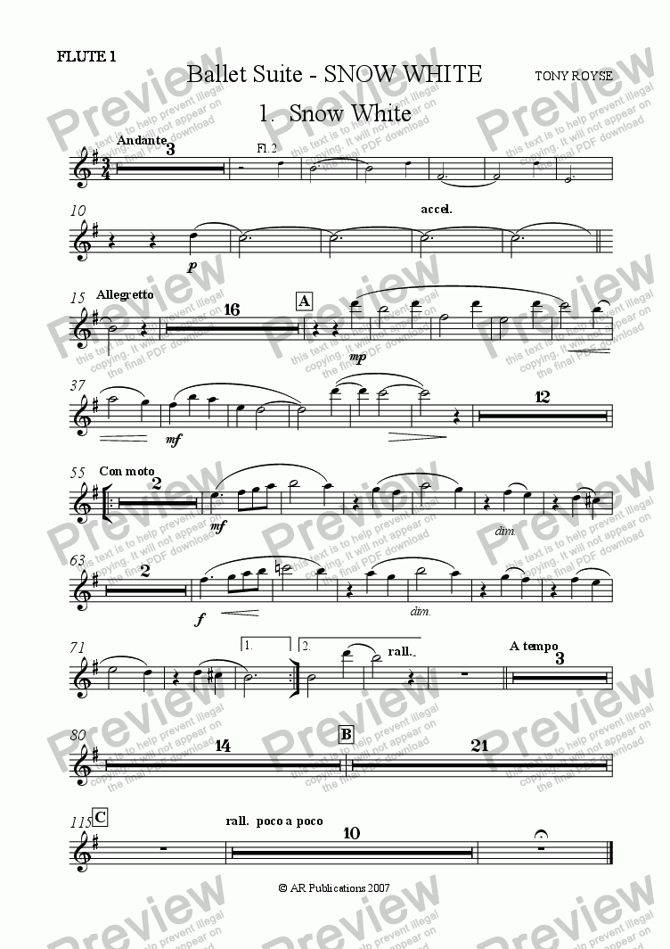 page one of the Flute 1 part from Suite - SNOW WHITE - 1. Snow White.