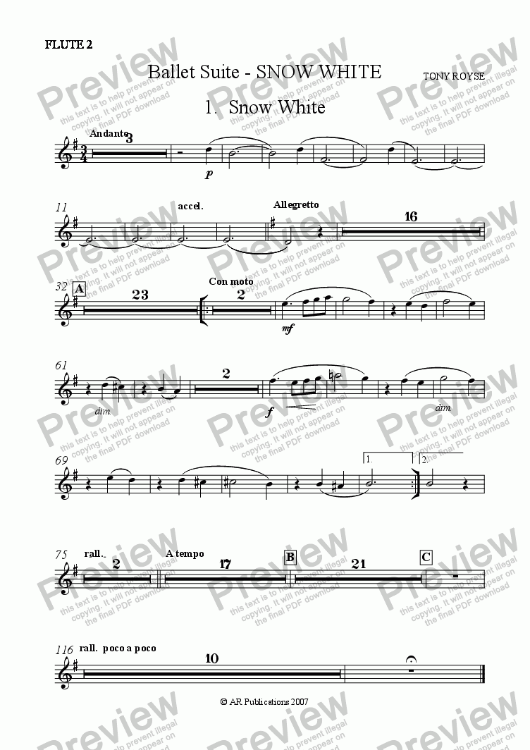 page one of the Flute 2 part from Suite - SNOW WHITE - 1. Snow White.