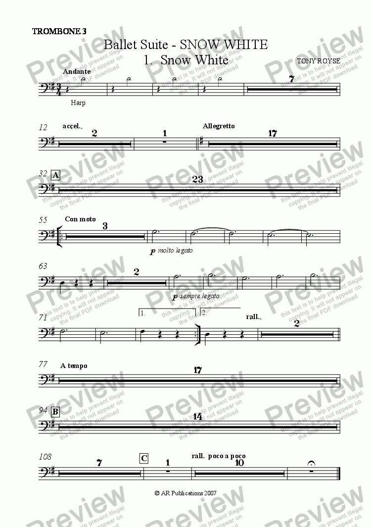 page one of the Trombone 3 part from Suite - SNOW WHITE - 1. Snow White.