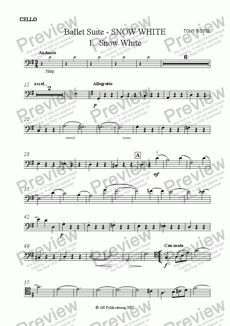 page one of the Cello part from Suite - SNOW WHITE - 1. Snow White.