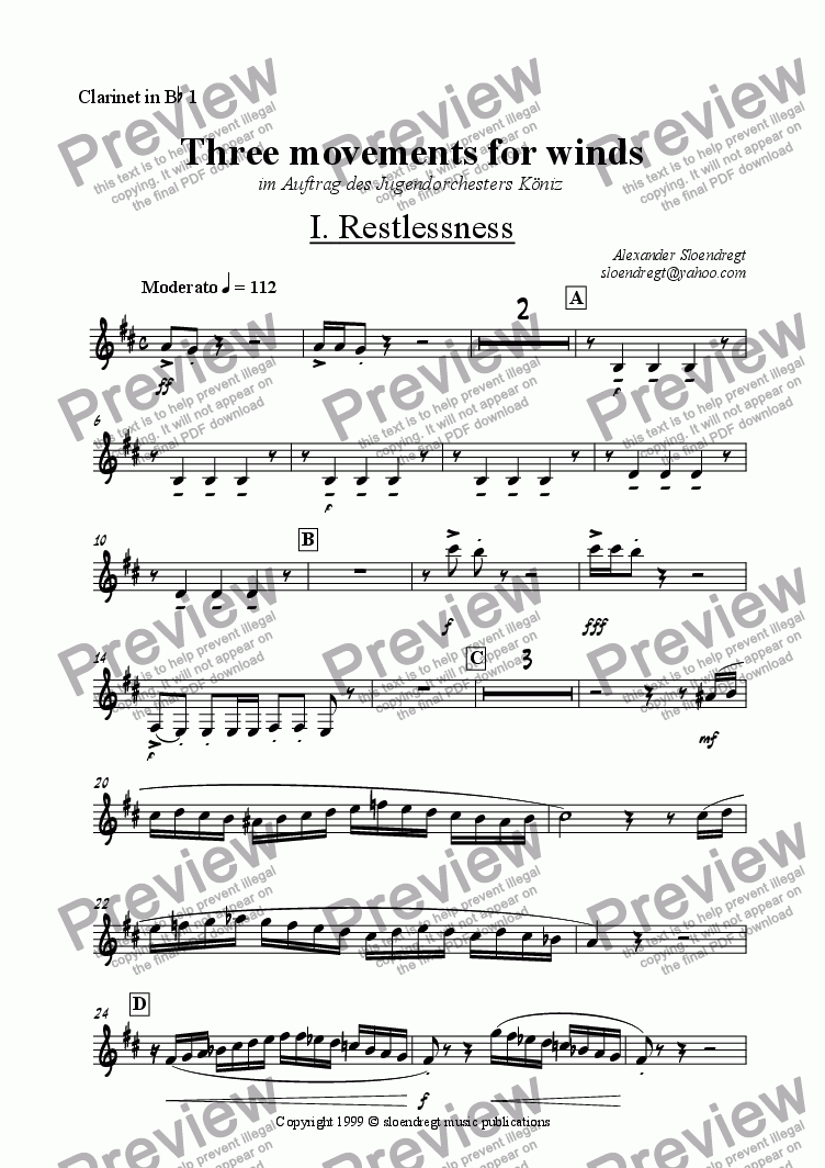 page one of the clarinet in Bb 1 part from Three movements for winds