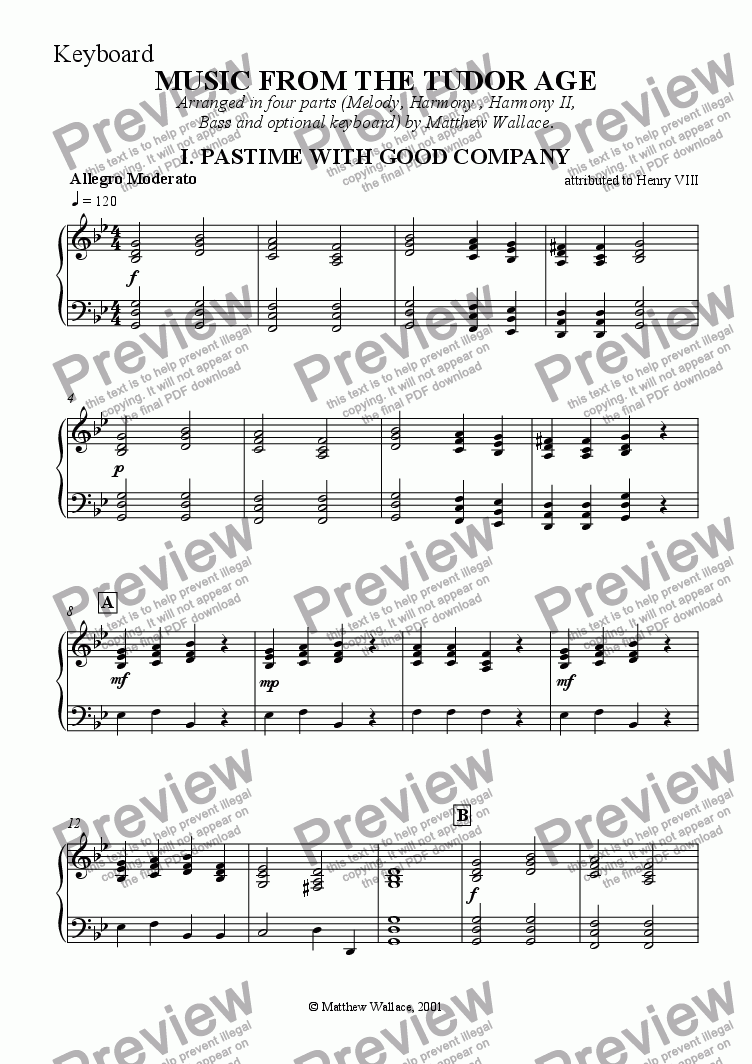 page one of the Keyboard part from Music From The Tudor Age