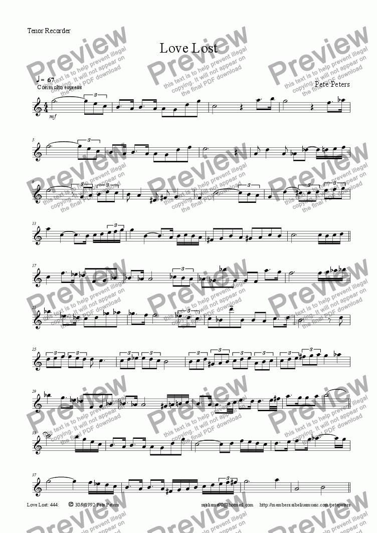 page one of the Flute or Tenor Recorder part from Love Lost [Flute/Recorder+Piano]