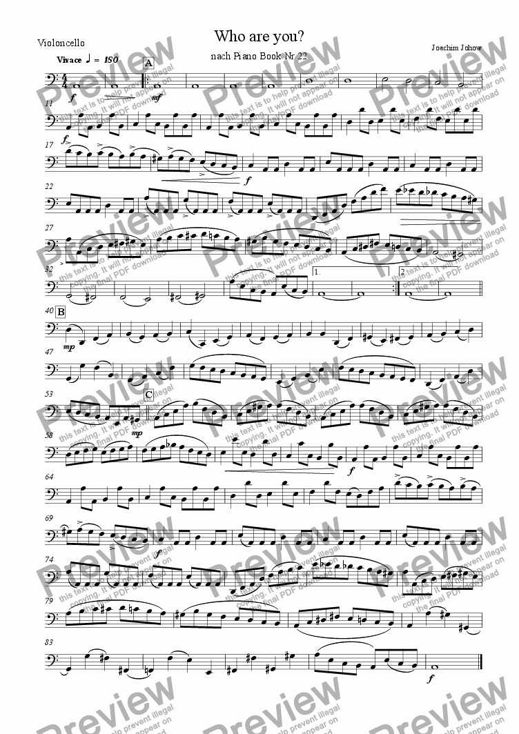 page one of the Vlc part from String Orchestra 05 (Who are you?)