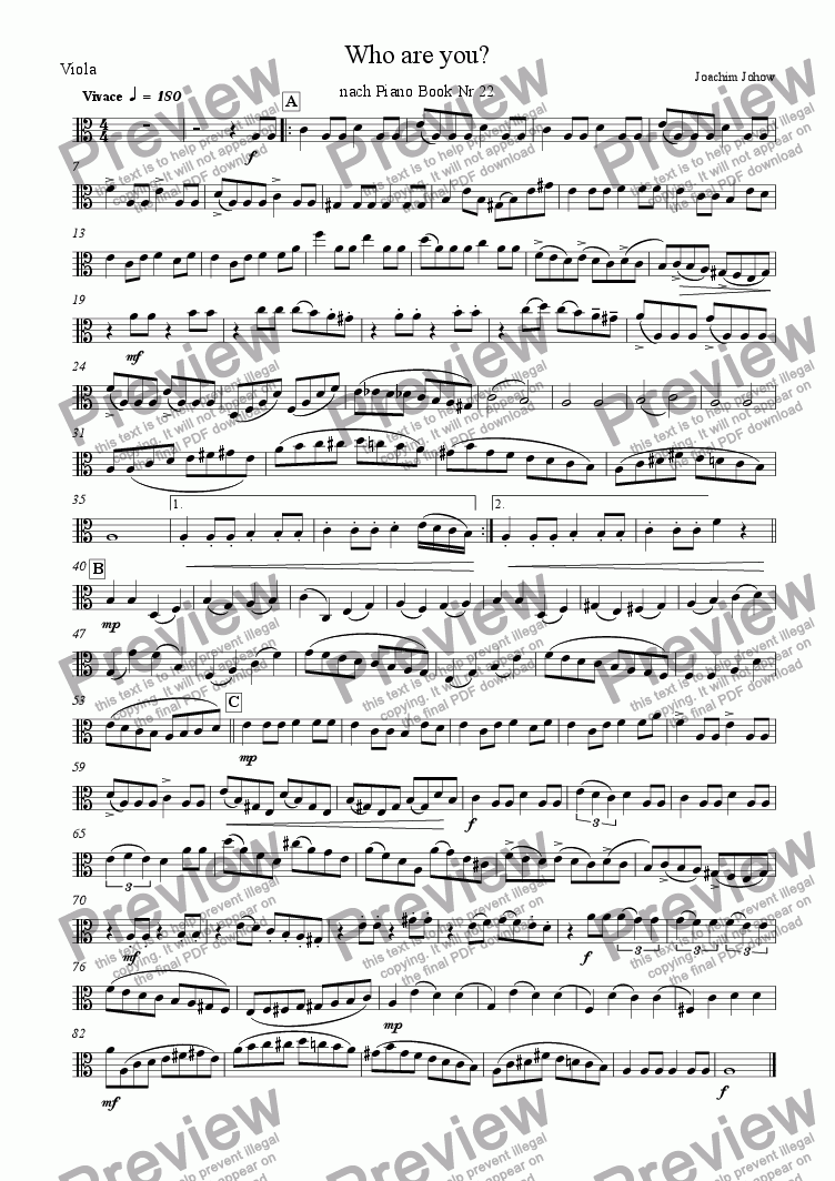 page one of the Vla part from String Orchestra 05 (Who are you?)