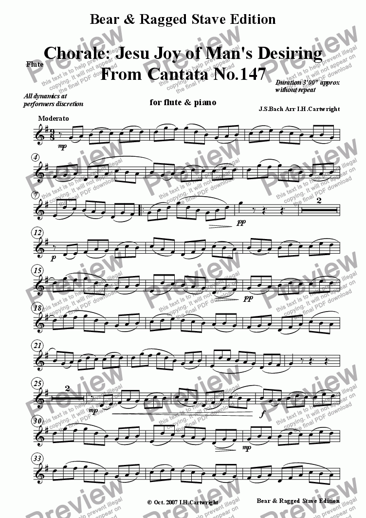 page one of the Flute part from Chorale: Jesu, joy of Man's Desiring for flute & piano
