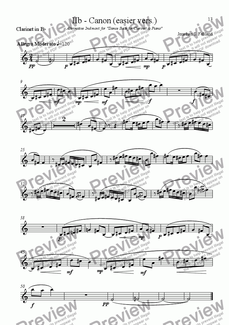 page one of the Clarinet in B flat part from Canon (easier vers.)