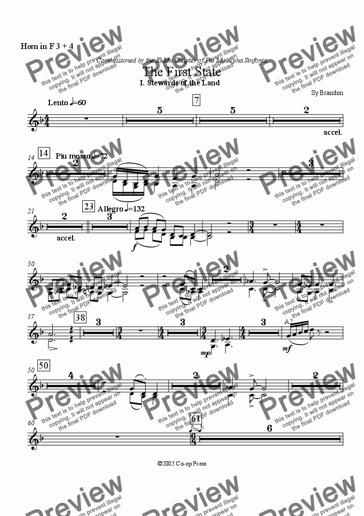 page one of the Horn 3 & 4 in F part from The First State