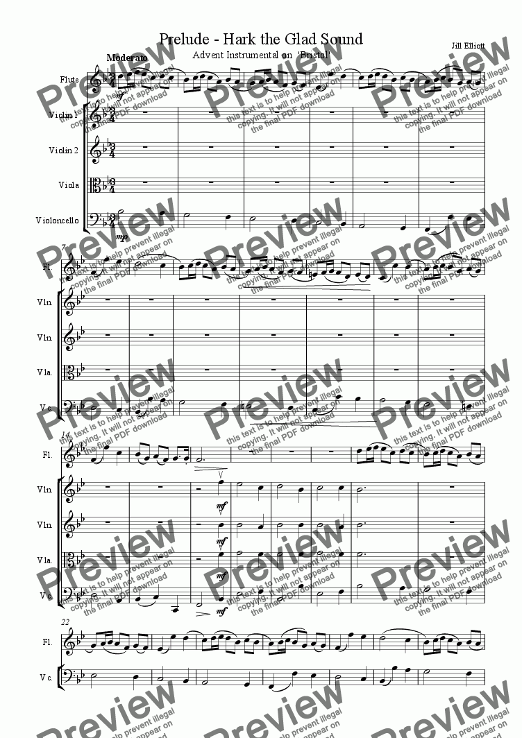 page one of the Violin 1 part from Prelude - Hark the Glad Sound