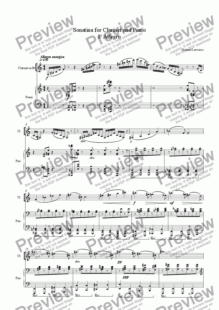 page one of the Clarinet in B Flat part from Sonatina for Clarinet and Piano