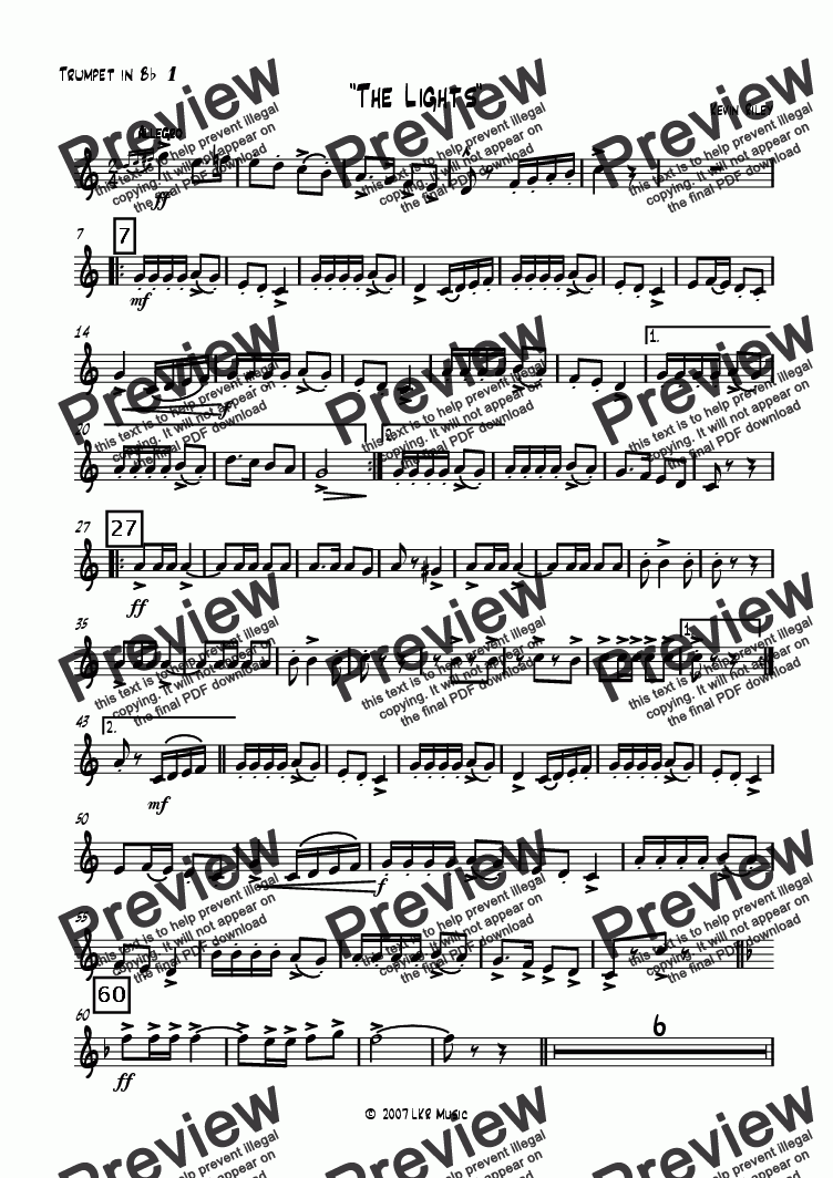 page one of the Trumpet 1 part from The Lights