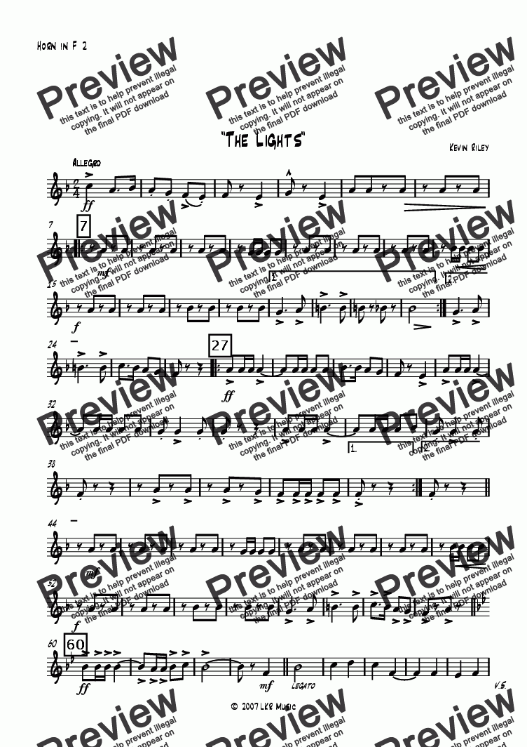 page one of the Horn in F 2 part from The Lights