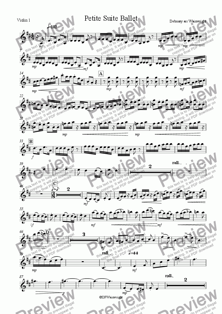 page one of the Violin 1 part from Petite Suite Ballet