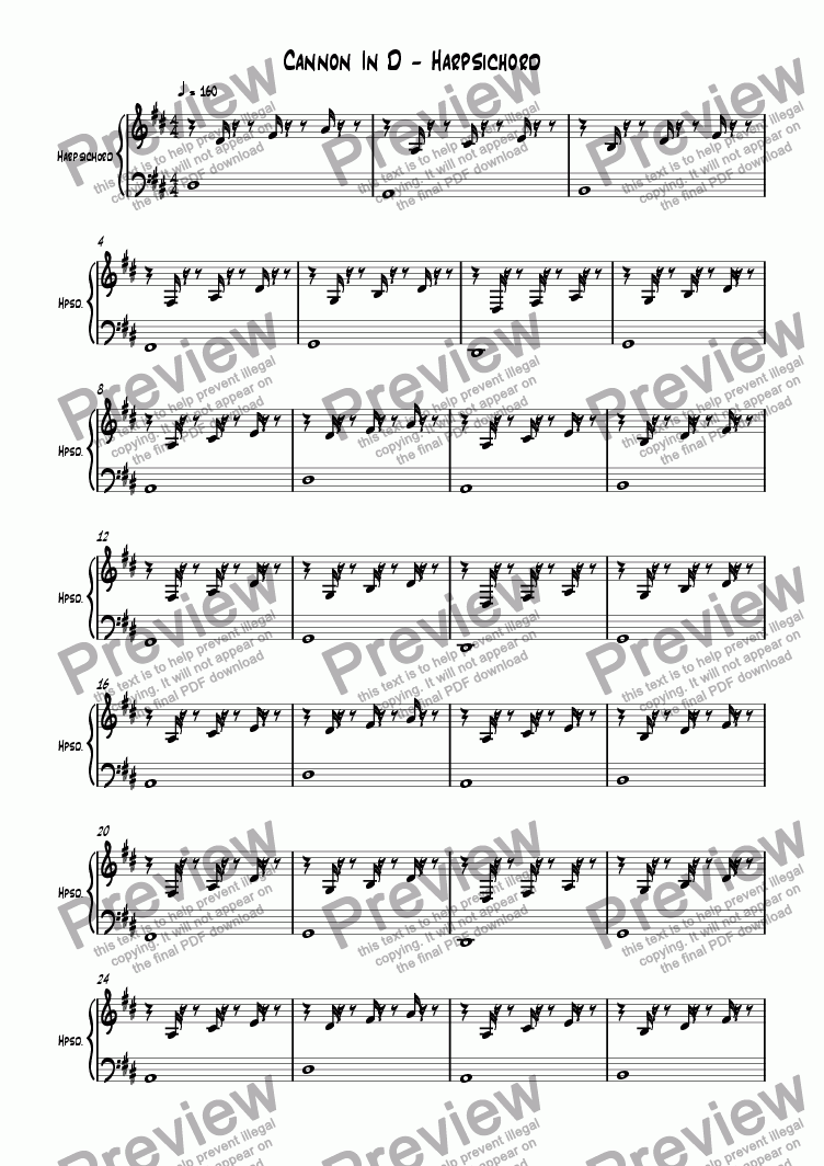 page one of the Harpsichord part from Cannon In D Major