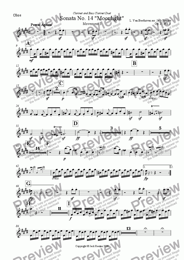 page one of the Oboe part from Moonlight Sonata - 3rd Movement (C# Minor) - Orchestra with Clarinet and Bass Clarinet Duet
