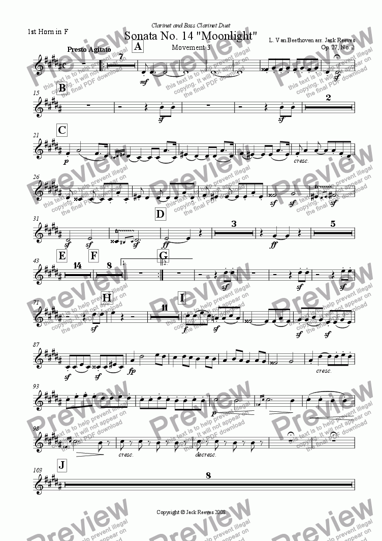 page one of the 1st Horn in F part from Moonlight Sonata - 3rd Movement (C# Minor) - Orchestra with Clarinet and Bass Clarinet Duet