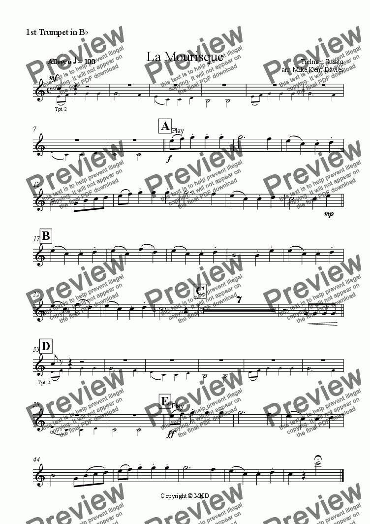 page one of the 1st Trumpet part from La Mourisque